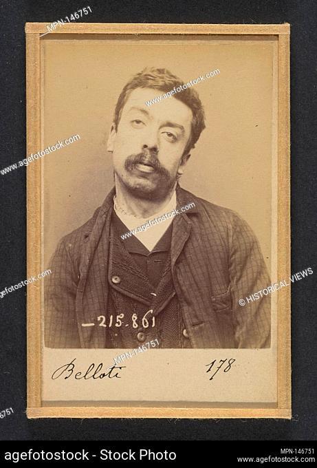 Belloti. Louis. 28 ans, né à Turin. Camelot. Anarchiste. 18/3/94. Artist: Alphonse Bertillon (French, 1853-1914); Date: 1894; Medium: Albumen silver print from...