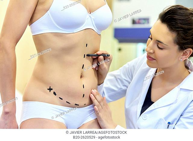 Abdomen. Tummy tuck. It is retensioning skin and abdominal muscles, by removing redundant skin and musculature plication