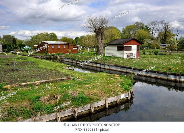 France, region of Hauts de France, Somme department, city of Amiens, floating gardens les Hortillonnages