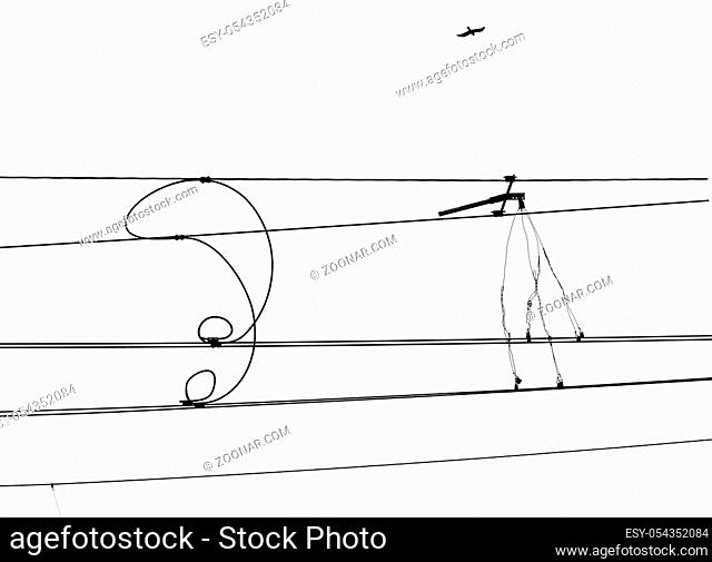 Isolated railway electrification system. Overhead line wire over rail track. Power lines