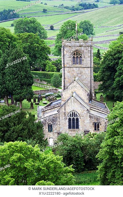 St Wilfrids Church in the Village of Burnsall in Wharfedale Yorkshire Dales England