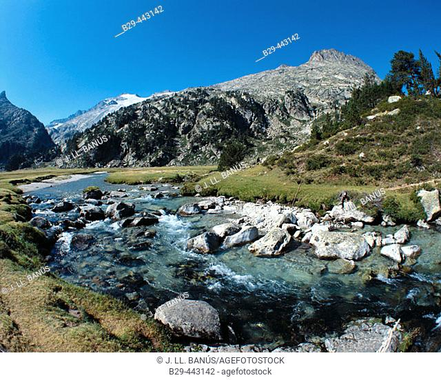 Garona river source. Aneto Peak  in background. Benasque Valley in the Pyrenees Mountains. Huesca province. Aragon. Spain