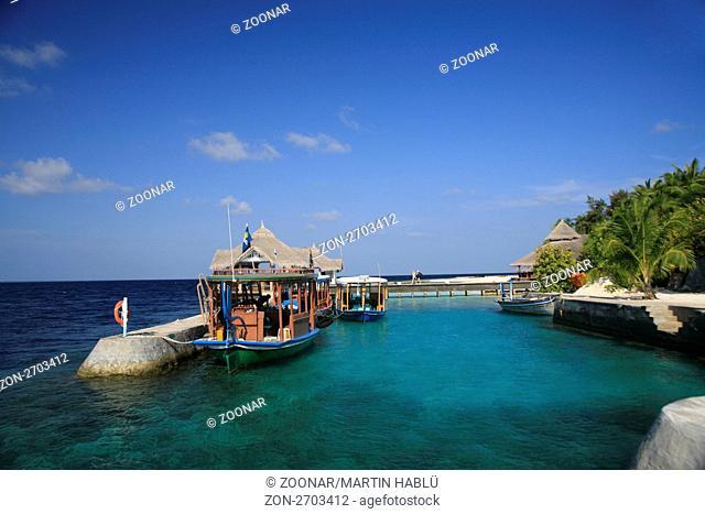 Hafenmole der Malediveninsel Ellaidhoo, Ari-Atoll, Malediven, Indischer Ozean, Jetty of the Island Ellaidhoo, Ari-Atoll, Maldives, Indian Ocean