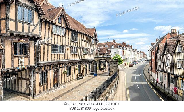 Lord Leycester Hospital in Warwick a medieval county town of Warwickshire, England