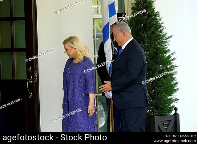 United States President Donald J. Trump and first lady Melania Trump welcomes Prime Minister Benjamin Netanyahu of Israel, and his wife Sara