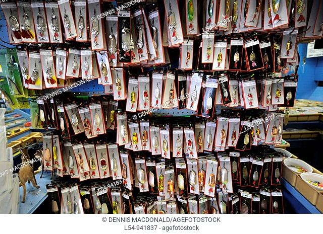 Fishing lures on display in Shop in Grand Marais Minnesota along Lake Superior