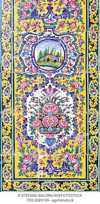 Tilework at Masjed-e Nasir al-Molk, also known as pink mosque, Shiraz, Iran