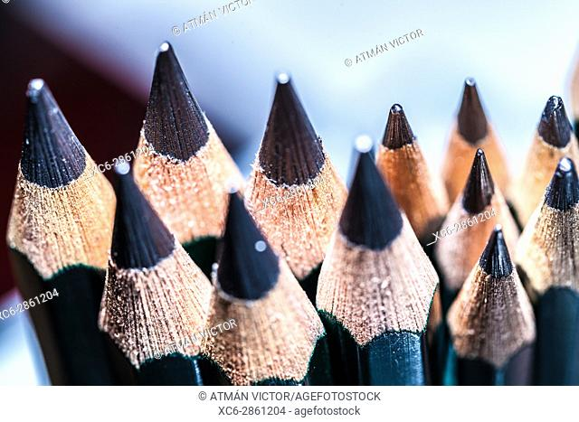 colour pencils stacked in vertical position