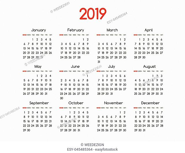2019 new year vector calendar modern simple design with round san serif font,Holiday event planner,Week Starts Sunday