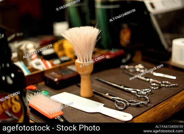 Hairdressing tools arranged on table
