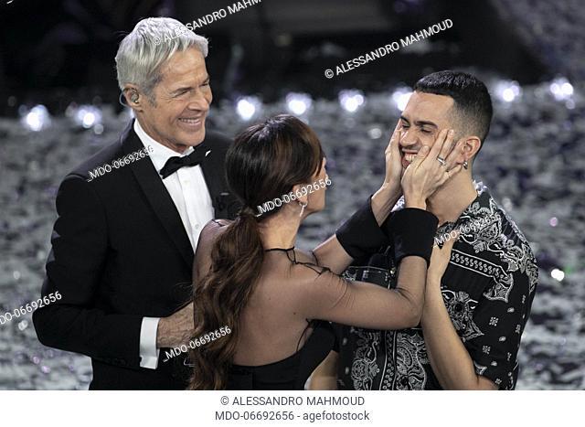 Italian-Egyptian singer Mahmood (Alessandro Mahmoud) winner of the 69th Sanremo Music Festival with Italian comedian and host Virginia Raffaele and Italian...