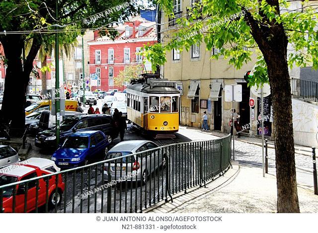 Rua de Sao Tome leading to the MIradouro de Santa Luzia. Alfama, Lisbon, Portugal