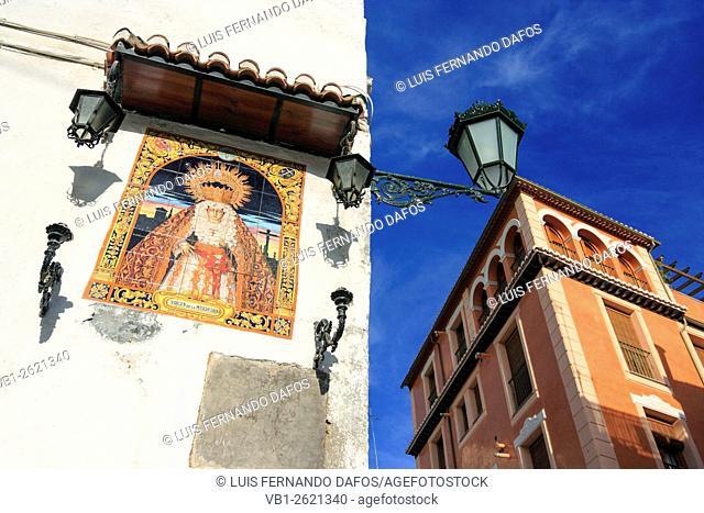 Virgin Mary tile mosaic in street of Granada , Spain