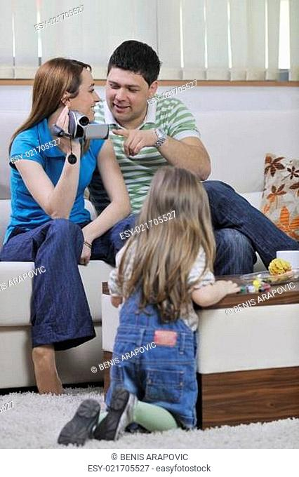 happy family special moments on video