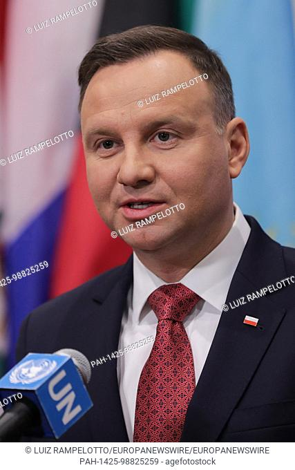 United Nations, New York, USA, January 18 2018 - Andrzej Duda, President of the Republic of Poland presser after the Security Council meeting on...