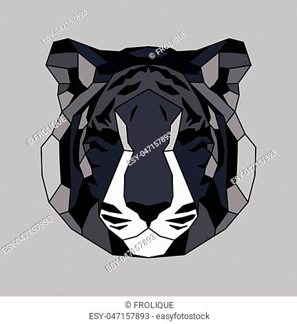 Gray lined low poly tiger. Vice geometric art