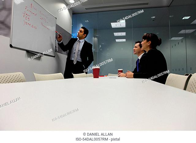 Businessman using whiteboard in meeting