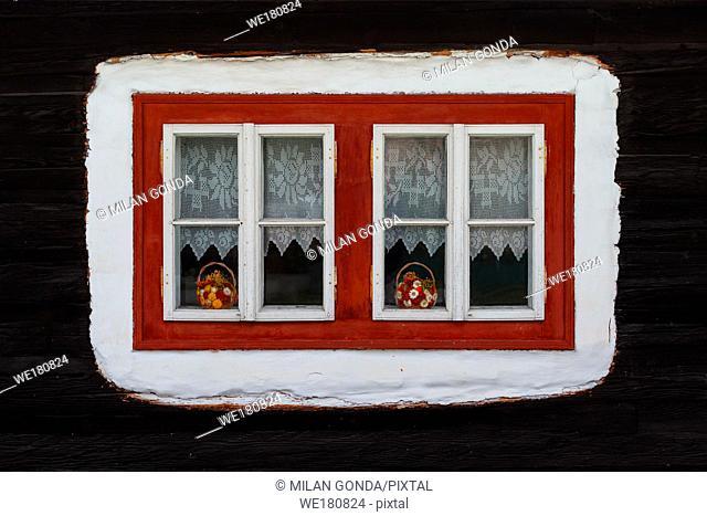 Window of a traditional log cabin, Orava region, Slovakia
