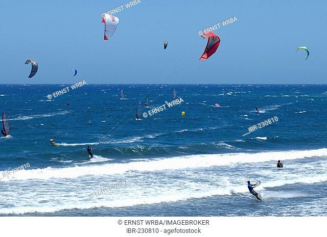 El Medano, ocean with windsurfers and kitesurfers, Tenerife, Canary Islands, Spain