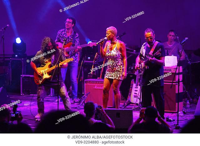 Musician Raimundo Amador. Summer music festival concert, white village of Mijas Pueblo. Malaga province, Costal del Sol. Andalusia, Southern Spain