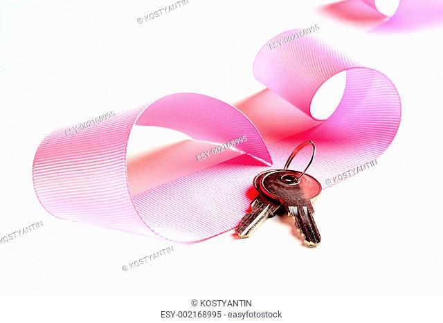 Pink celebratory ribbon