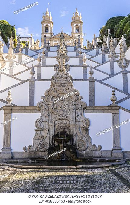 Stairs dedicated to five sences in Bom Jesus do Monte (Good Jesus of the Mount) sanctuary in Tenoes, outside city of Braga, Portugal