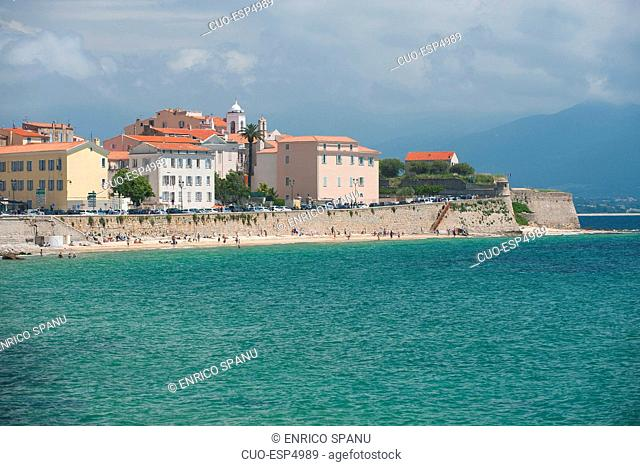 Plage Saint Francois the beach and the historic center of Ajaccio, Corsica, France, Europe