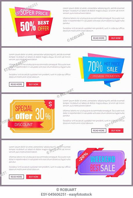 Set sale special offer order now web poster with push buttons read more and buy now. Vector illustration advertisement banner with info about discounts