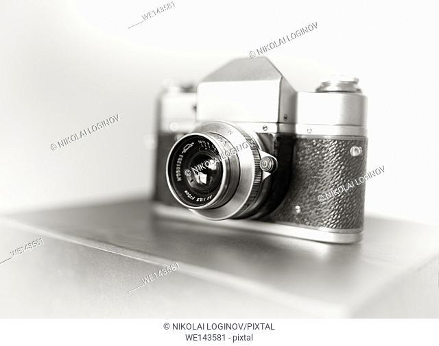 Vintage camera bokeh background