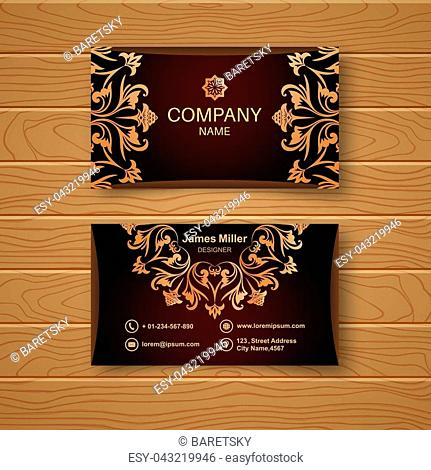 Template of the empty business card on a wooden table. The card with a flower pattern in Baroque style. Vector illustration