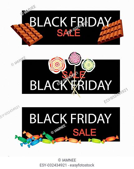 Illustration of Delicious Chocolates, Lollipops and Hard Candy on Black Friday Shopping Banner for Start Christmas Shopping Season