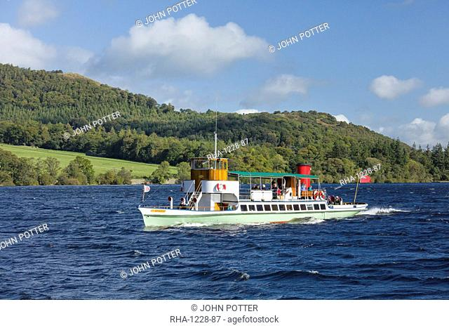 The Raven steam boat on Ullswater, Lake District National Park, UNESCO World Heritage Site, Cumbria, England, United Kingdom, Europe