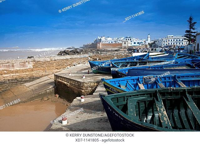 Morocco Essaouira Medina and fishing boats near Bab Laachour