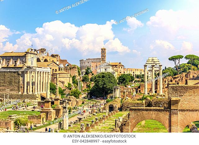 View on the Roman Forum: The Temple of Antoninus and Faustina, The Temple of Venus and Rome, the Temple of Castor and Pollux and the Coliseum