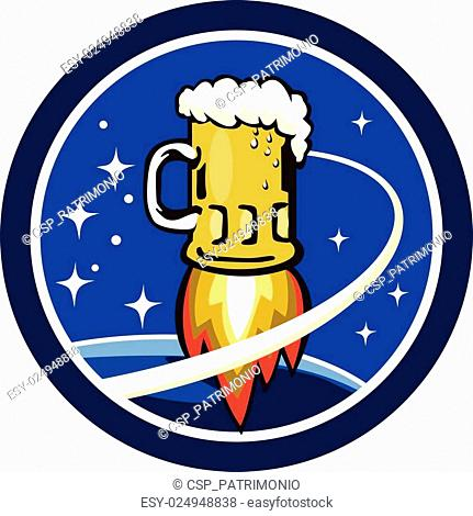 Beer Mug Rocket Ship Space Circle Retro