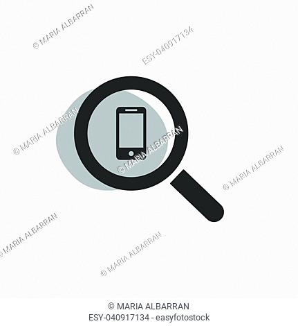 Magnifying glass looking for a smarthphone isolated web icon. Vector illustration