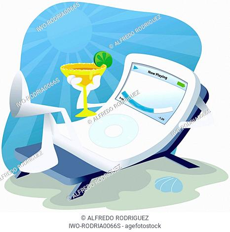 Anthropomorphic MP3 Player Relaxing On The Beach