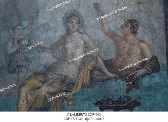 Couple of banquet with a slave, from Herculaneum, fresco Pompeii, 2008, Rome, Italy