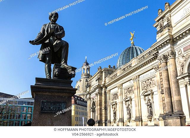 View of the Art Academy and the memorial of Gottfried Semper in the foreground, Dresden, Saxony, Germany, Europe