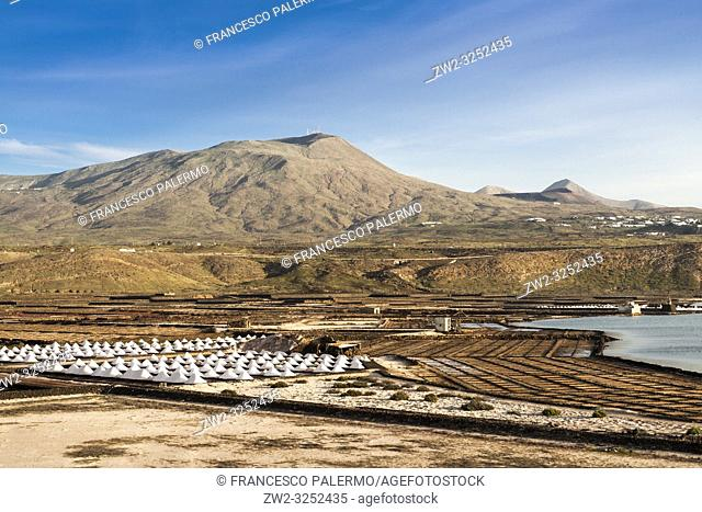 Panorama of the saltworks created by man. Salinas de Janubio, Lanzarote. Spain