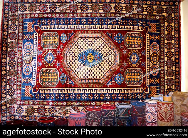 Carpet on the wall in shop, Istanbul, Turkey