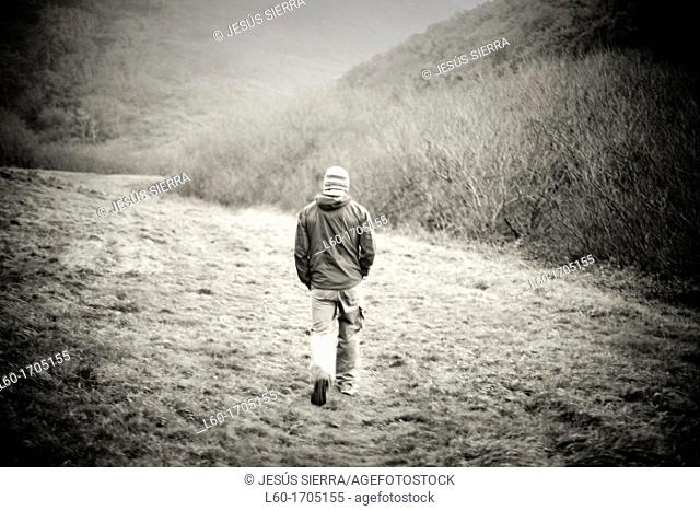 Walking in nature, Man, Asturias, Spain