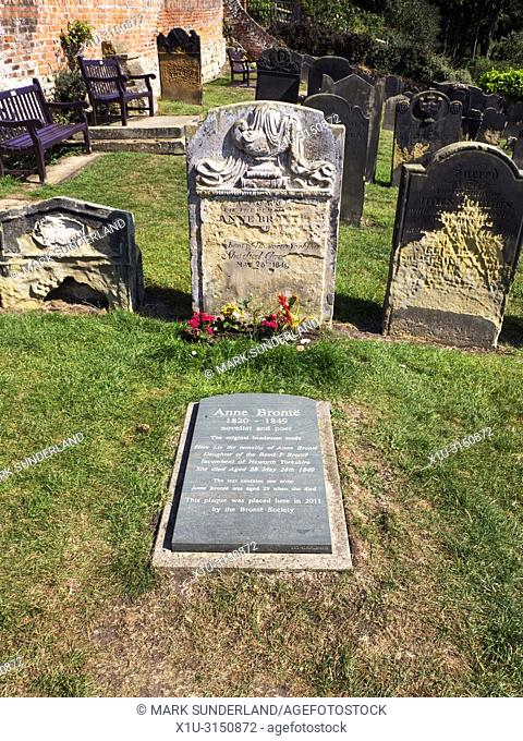 Anne Brontes Grave in St Marys Churchyard with modern plinth places by the Bronte Society at Scarborough Yorkshire England