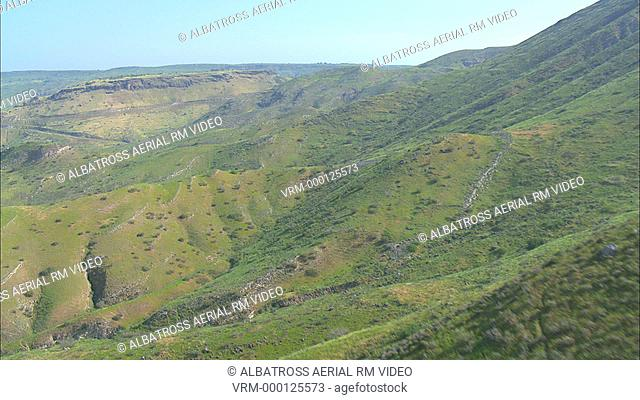 Aerial Hippos; an archaeological site in southern Golan Heights located on a hill overlooking the Sea of Galilee; Israel
