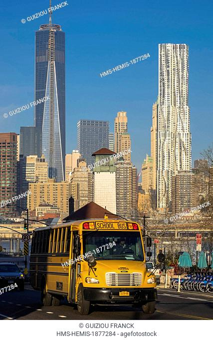 United States, New York, south Manhattan from Dumbo district in Brooklyn, the One World Trade Center Tower (1WTC) became the tallest building in NYC since 30...
