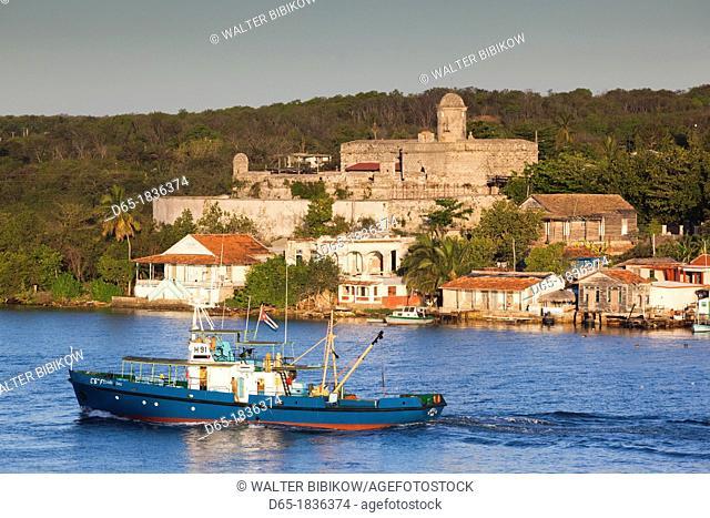 Cuba, Cienfuegos Province, Cienfuegos, Castillo de Jagua, 18th century fortress, Bahia de Cienfuegos, morning
