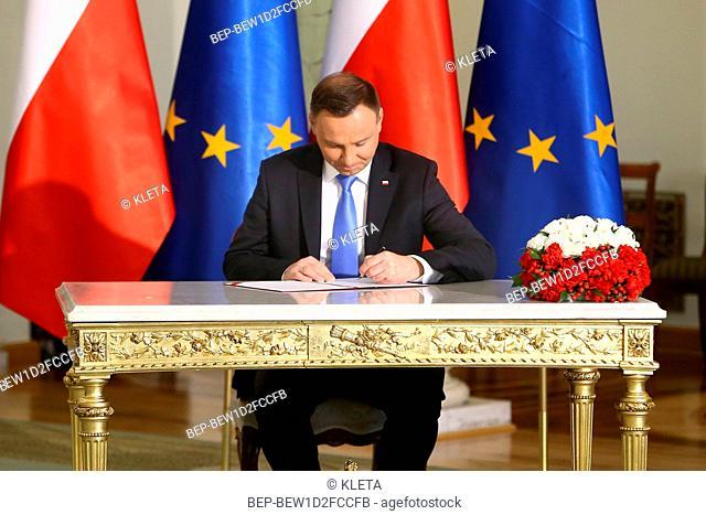 April 27, 2018. Warsaw, Poland. Pictured: President of Poland Andrzej Duda