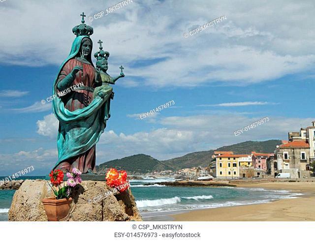 statue of Santa Maria a Mare in Marina Piccola of Santa Maria di Castellabate, Campania, Italy