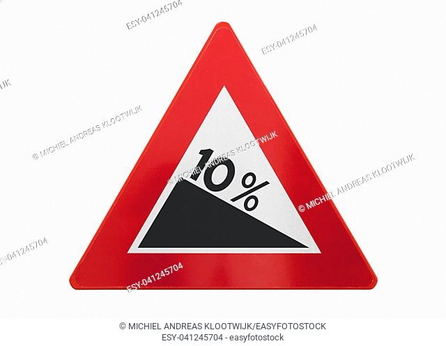 Traffic sign isolated - Grade, slope 10% - On white