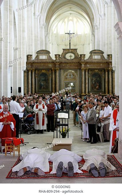 Deacon ordination in Pontigny Abbey church, Pontigny, Yonne, Burgundy, France, Europe